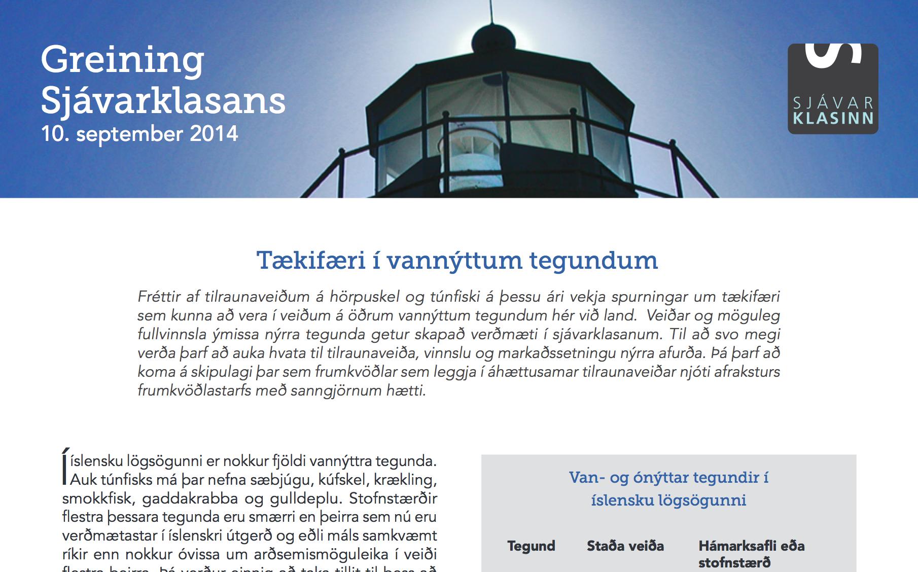 Greining Sjávarklasans: Tækifæri í vannýttum tegundum